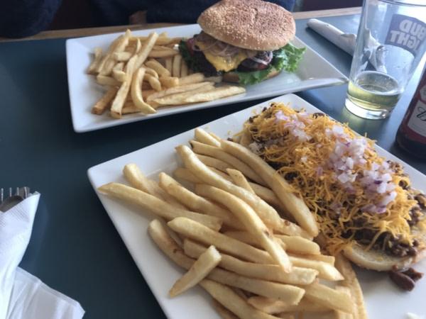 Notre repas de midi très américain...