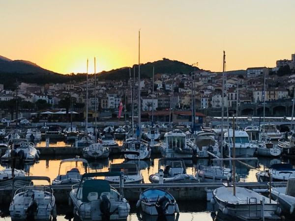 Coucher de soleil sur le port de Banyuls